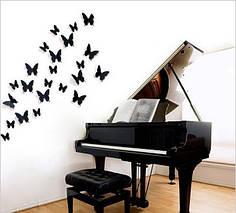"""Наклейка на стену, украшения наклейки """"12 шт черные 3D бабочки наклейки"""""""