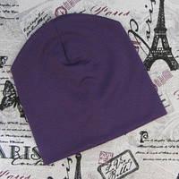 Демисезонная шапка стрейч котон. Фиолетовая