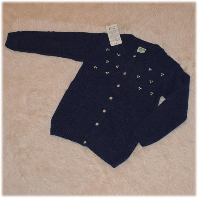Кофта на пуговицах на девочку полушерсть синего  цвета Турция  размер  140 146