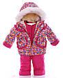 Детский костюм-тройка для девочки (конверт+курточка+полукомбинезон) малиновый зоопарк, фото 2