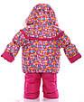 Детский костюм-тройка для девочки (конверт+курточка+полукомбинезон) малиновый зоопарк, фото 4