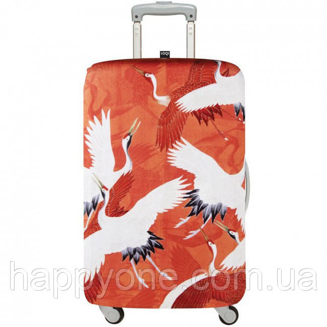 Чехол для чемодана WOMANS HAORI White & Red Cranes Medium LOQI