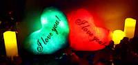 Светящаяся подушка – Сердце «Я тебя люблю» красная, розовая, синяя