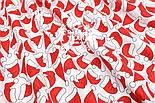 """Отрез ткани """"Шапочки Санта Клауса"""" на белом фоне, №1561, размер 58*160, фото 4"""