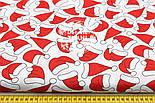 """Отрез ткани """"Шапочки Санта Клауса"""" на белом фоне, №1561, размер 58*160, фото 5"""