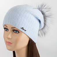 Удлиненная шапка с помпоном из чернобурки Жанна иней