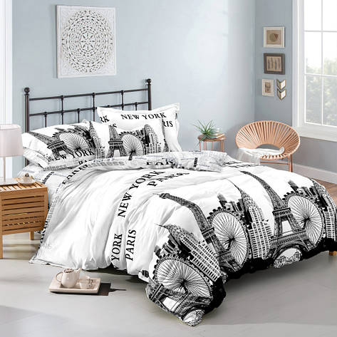 Двуспальный комплект постельного белья 180*220 сатин (10571) TM КРИСПОЛ Украина, фото 2