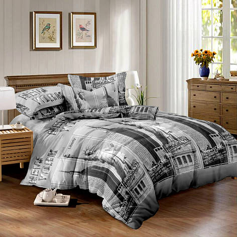 Двуспальный комплект постельного белья евро 200*220 сатин (10602) TM КРИСПОЛ Украина, фото 2