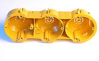 Установочные коробки под гипсокартон модульные тройние (мультибоксы) для розеток и выключателей.