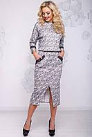 Модное теплое платье летучая мышь длины миди из ангоры 42-50 размера принтованый, фото 1
