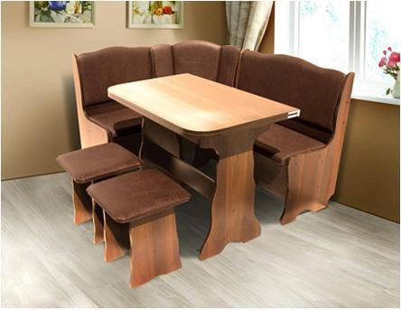 Кухонный комплект Гармония (уголок+стол+2 табурета) цвет Вишня/Медовая