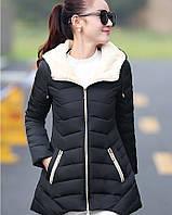 Распродажа модели! Демисезонная женская куртка с капюшоном ассиметрия черная