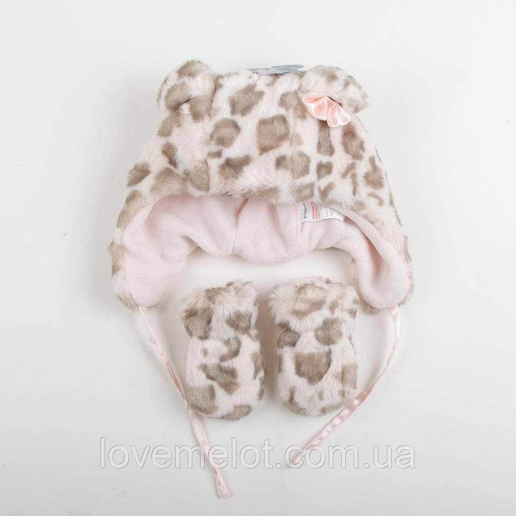 """Детская зимняя шапочка, теплая шапка меховая с варежками """"Леопардочка"""" на 6-12 мес и 12-24 мес."""