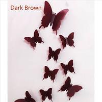 """Наклейка на стену, украшения наклейки """"12 шт. 3D бабочки наклейки"""" коричневые"""