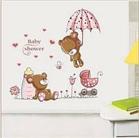 """Наклейка на стену, детские стикеры наклейки """"Влюбленный мишка на зонтике"""" (лист 50*70см)"""