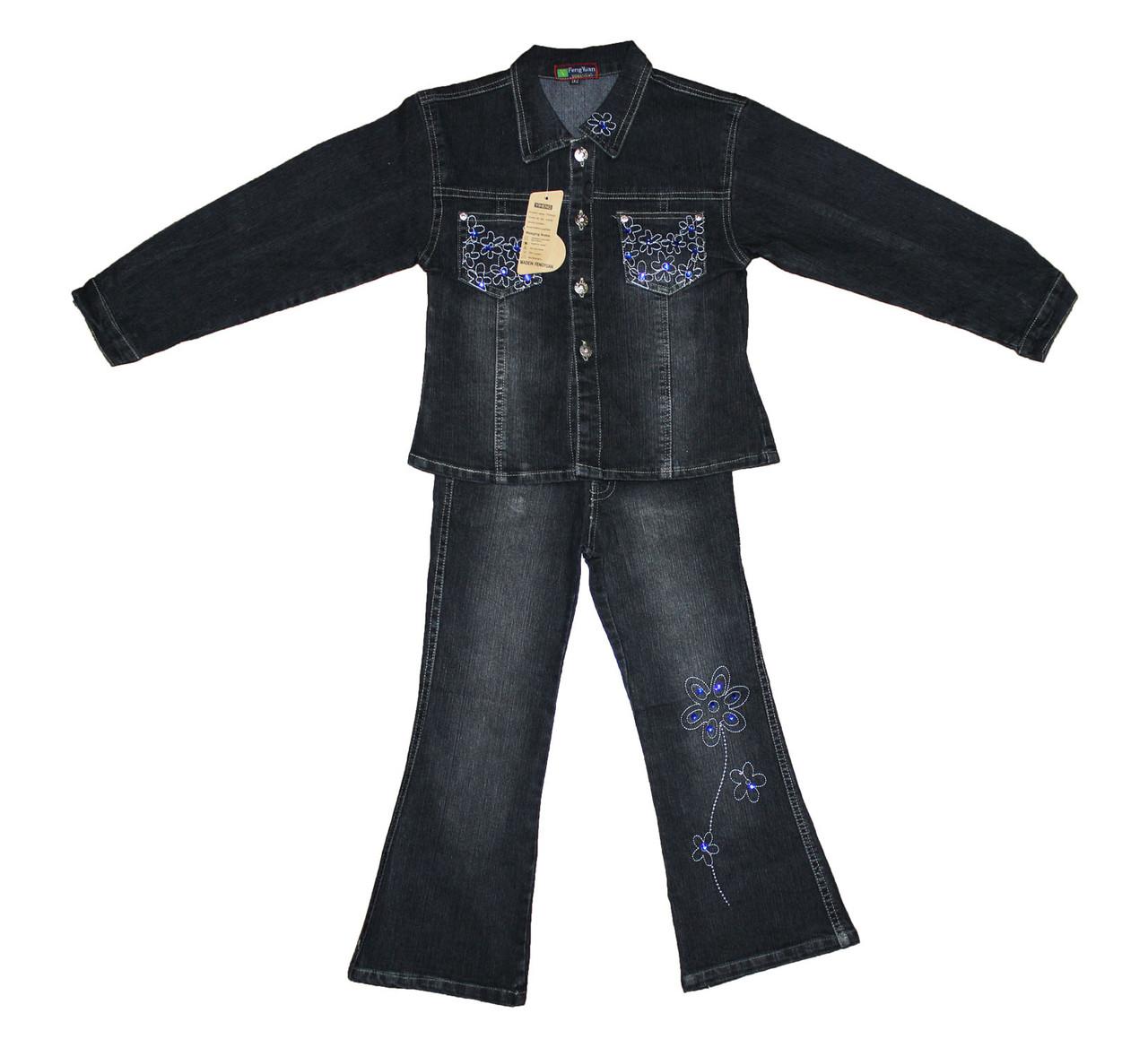 Костюм детский джинсовый двойка для девочки. Роза