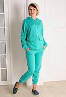 Женский спортивый костюм  с капюшоном Мята размеры 40-46