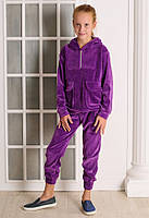Спортивый костюм для девочки с капюшоном велюр  Фиолетовый от 8 до 10 лет (128;134;140)