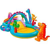 Детский надувной центр Intex 57135 «Планета динозавров», 333 х 229 х 112 см, с фонтаном и надувным кольцом