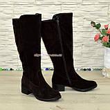 Сапоги женские замшевые зимние на невысоком каблуке, фото 3