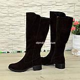 Сапоги женские замшевые зимние на невысоком каблуке, фото 4