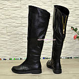 Ботфорти зимові жіночі чорні шкіряні на низькому ходу, фото 3