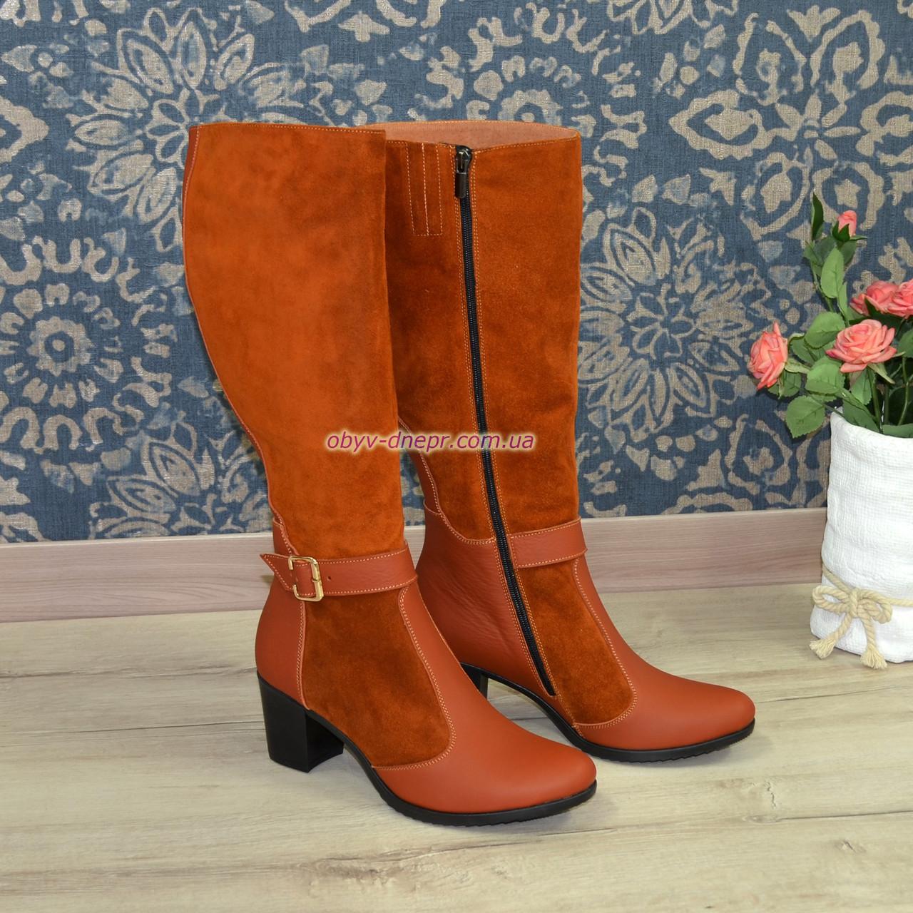 8a6ba07b9de3 Сапоги зимние женские на невысоком устойчивом каблуке, натуральная рыжая  кожа и замша. - Интернет