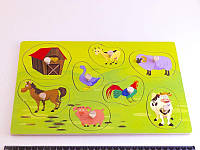 Деревянная игрушка Досточка вкладки с животными Ферма