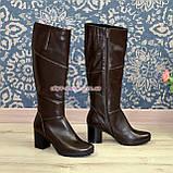 Сапоги женские зимние на устойчивом каблуке, натуральная коричневая кожа, фото 3