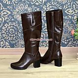 Сапоги женские зимние на устойчивом каблуке, натуральная коричневая кожа, фото 4