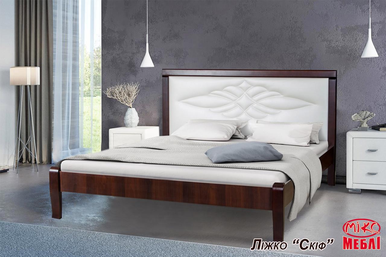 Двуспальная кровать Скиф Элегант 160х200 см деревянная с мягким изголовьем