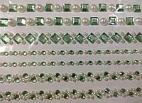 Наклейка з камінцями та перлинами для скрапбукінгу, декору (7 рядів по 25,5 см). Салатова (№4)