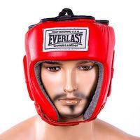 Шлем Ever, кожа, размер S, M, L, ХL, красный, EV480