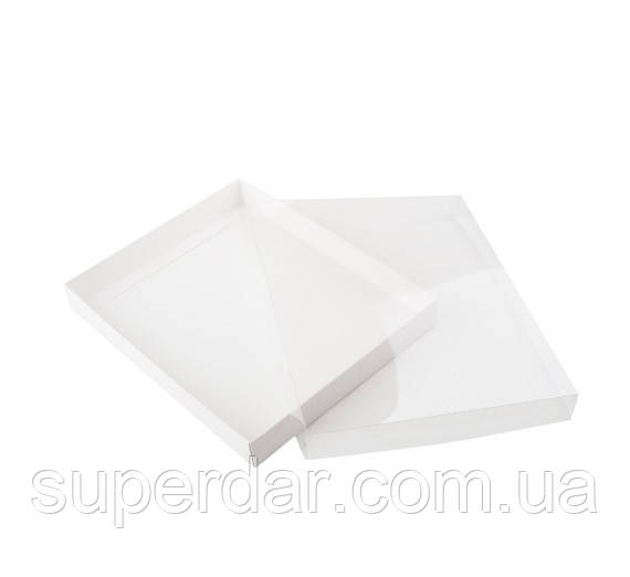 Коробка для пряников с прозрачной крышкой 250×200×30 мм. белая