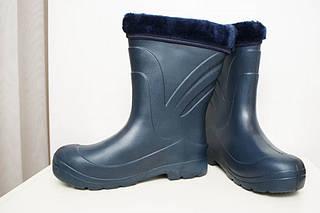 Женские сапоги зимние темно-синие ( Код : EVA-08 обшив)