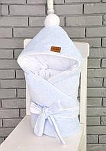 Велюровый конверт-одеяло, на трикотаже, голубой меланж