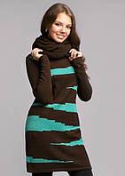 Теплый вязаный комплект туника плюс хомут, разные цвета