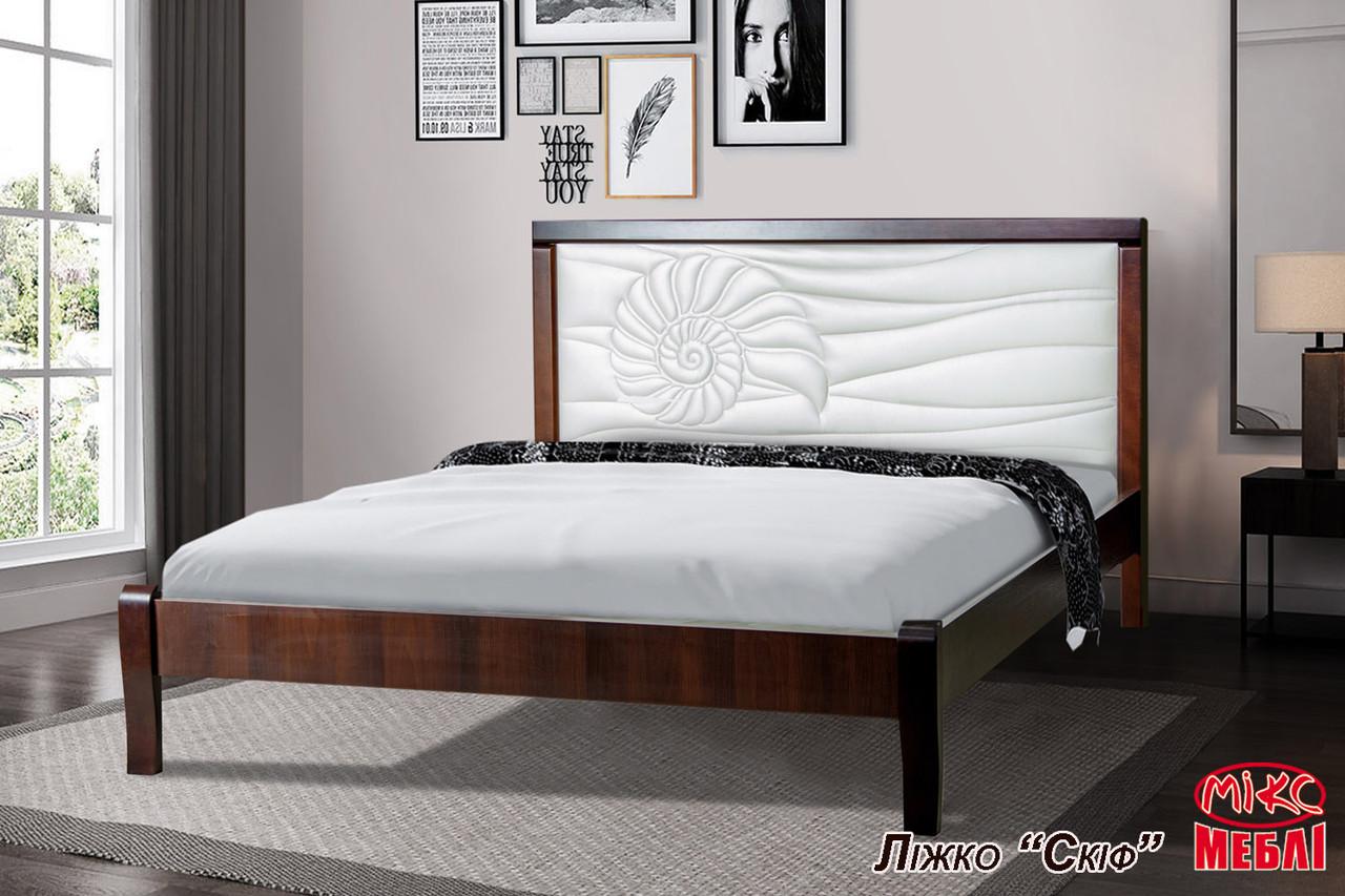 Двуспальная кровать Аква Элегант 1600х2000 мм деревянная с мягким изголовьем