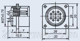 Разъем цилиндрический, Metal РС50БТВ