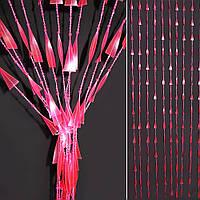 Штора декоративна пластик спіраль з намистинками 80х175 см рожева (48701.001)