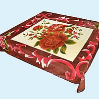 Плед кремовый с коричневыми розами и каймой 216х204