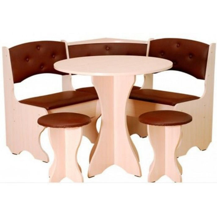 Кухонный уголок Боярин с круглым столом и табуретами Пехотин