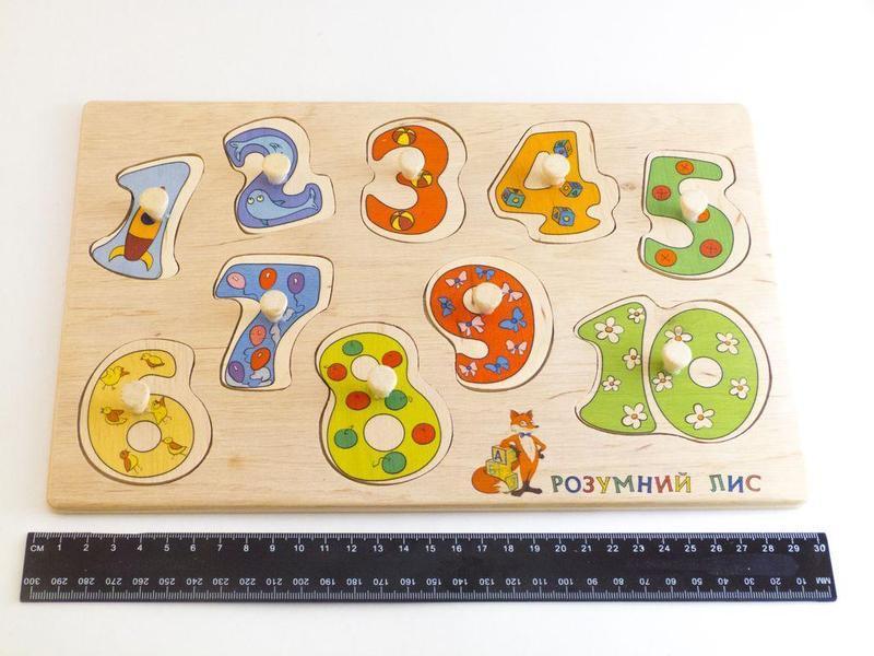 Деревянная игрушка досточка вкладки Числа Учимся Считать
