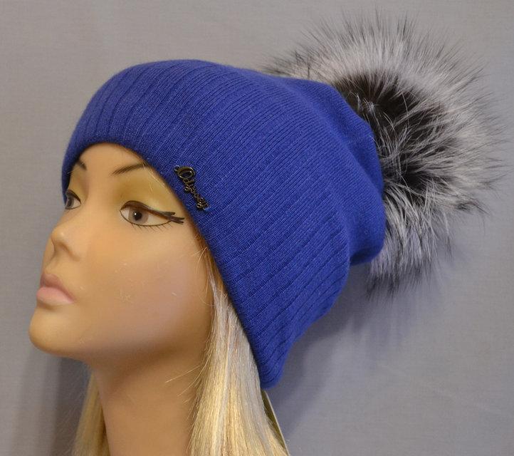 06f14c31a016 Женская теплая шапка с помпоном из чернобурки Жанна синяя