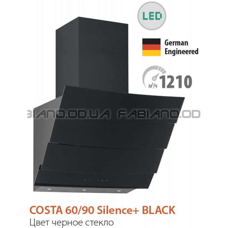 Наклонная бесшумная вытяжка Fabiano Costa 90 Black Silence+
