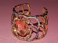 Браслет розовый камень, металл под золото 300453