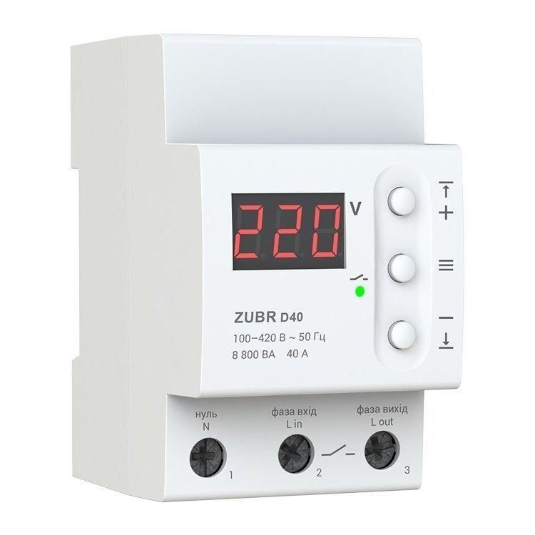 Реле напряжения ZUBR D40 Защита от скачков напряжения ЗУБР