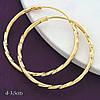 Серьги-кольца 3,5 см позолота XР. Медицинское золото. Код:1096