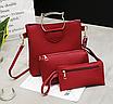 Женская сумка большая с ручками в наборе клатч и кошелек Cat  Красный, фото 2