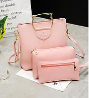 Женская сумка большая с ручками в наборе клатч и кошелек Cat Розовый, фото 1